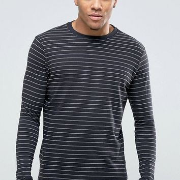 New Look Striped Long Sleeve Top In Black at asos.com
