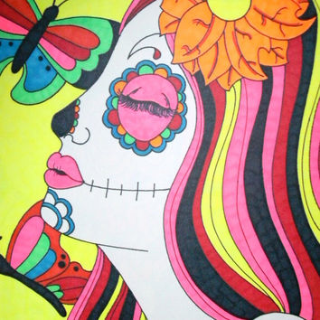 Colorful Sugar Skull Girl with Butterflies 8x10 Sharpie Drawing, Original Day of the Dead Art, Dia De Los Muertos Alternative Gift Idea
