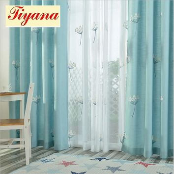 Modern window shade room darkening dandelion sheer curtain blackout curtain floral style living room bedroom blind  Su118 *15