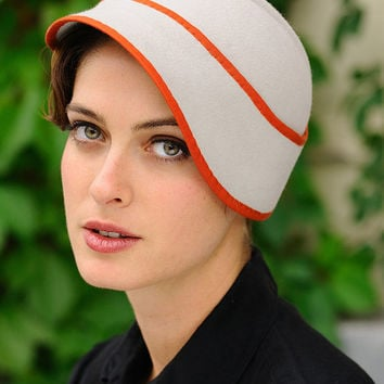 Clementine light gray cloche with orange trim by yellowfield7