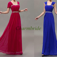 long chiffon prom dresses with cap sleeves /elegant floor length gowns for evening party / cheap holiday dress / new year's dresses