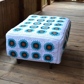 Ottoman with Crochet Granny Square Cover White, Turquoise, Teal, Orange Recycle Upcycle Littlestsister