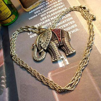 New Women Trendy Antique Elephant Rhinestone Necklaces & Pendants Sweater Chain Vintage