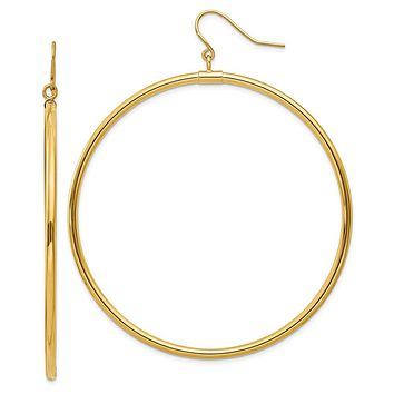 2mm, 14k Yellow Gold, Extra Large Tube Hoop Dangle Earrings, 55mm