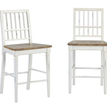 Shutters Transitional Counter Chair (Set Of 2) Light Oak/ Distressed White