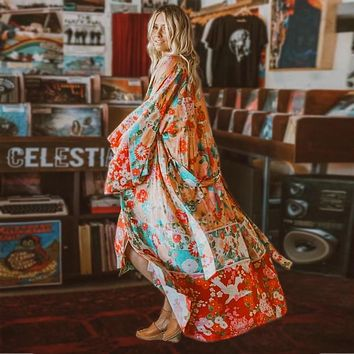TEELYNN rayon boho Wrapped dress red floral print summer dresses V-neck kimono sleeve beach wear chic long women dresses