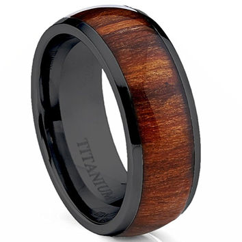 8MM TITANIUM RING WEDDING BAND BLACK PLATED WITH DARK WOOD INLAY DOMED TOP | FREE ENGRAVING