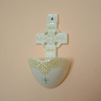 Belleek Holy Water Font Celtic Cross Irish Fine Porcelain Sixth Mark Irish Catholic Sign of  Cross Blessing Font  Religious Christmas Gift