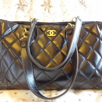 Authentic CHANEL CC LOGO MAXI GST Shopper Shoulder Bag Purse T280 CLASSIC!
