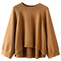 Brown Puff Sleeve Hi-lo Ruched Sweater