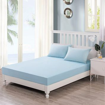 DaDa Bedding Luxury Pastel Baby Blue Cotton Fitted Sheet & w/Pillow Cases Set (JHW604)