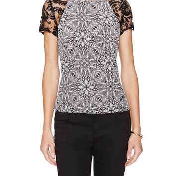 Silk Printed Lace Top