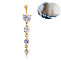 New Charming Dangle Crystal Navel Belly Ring Bling Barbell Button Ring Piercing Body Jewelry (With Thanksgiving&Christmas Gift Box)= 4651256836