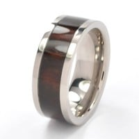 8 mm Titanium Wood Ring, Titanium Rings Wedding Band, Engagement Ring