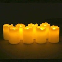 "Set of 8 Resin Flameless Battery Operated 3"" LED Votive Candles with Warm Amber and Color Changing Modes. Batteries Included."