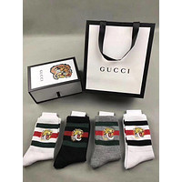 GUCCI Striped Tiger head Embroidered Socks - Boxed
