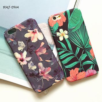 Tropical Banana Leaf Flowers Cherry Blossom pattern Design Phone Case For IPhone 6 6 S 7 7 Plus Duro Scrub Phone 6 6 s Coke case