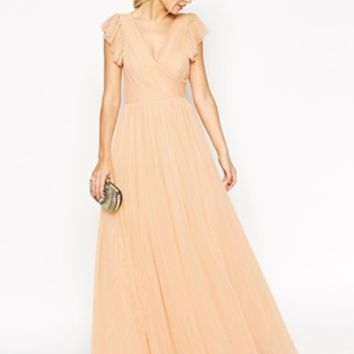 ASOS SALON Premium Princess Mesh Maxi Dress