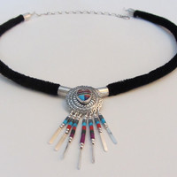 Sterling Silver Native American Fringe Pendant On Velvet Cord Sterling Chain and Clasp Necklace  18 3/4""