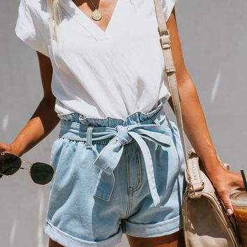 Lonestar Pocketed Paper Bag Waist Denim Shorts