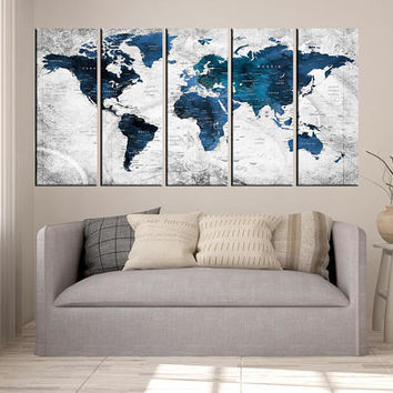 world map canvas art grey, push pin travel map wall art, blue world map with countries, world map wall decor, world map art print ht121