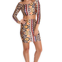 Women's Celeb Style Printing 2 Piece Set Tops +Skirt Party Clubwear Bodycon Hotsale