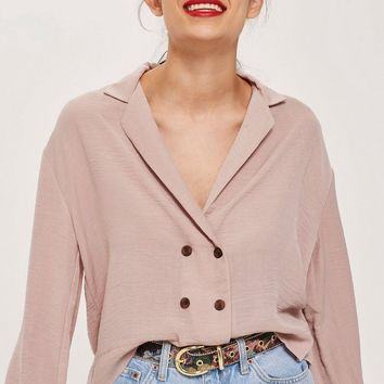 Button Down Wrap Blouse