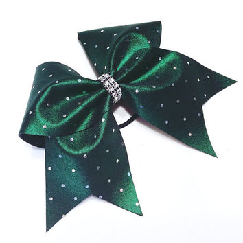 Cheer bow, Dark green cheer bow, sliver sequin cheer bow, cheerbow, cheerleading bow, softball bow, dance bow, pop warner cheer bow, big bow
