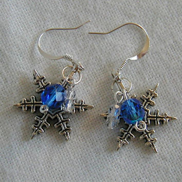 Sparkling Blue and Silver Winter Snowflake Charm Earrings ~Winter Earrings~Holiday Earrings~Novelty Earrings~Silver and Blue Earrings