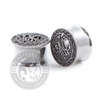 Tree of Life with Leaf Gems Double Flared Steel Plugs