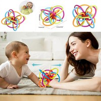 Soft Silicone Teether Baby Toy Little Voice Baby Ball Toy Develop Baby Intelligence Baby Grasping Toy Plastic Hand Gift W0011