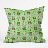 Lisa Argyropoulos Pineapple Jungle Green Throw Pillow