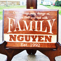 Personalized Family Name Sign Plaque Custom Wood Last Name Wood Sign with Established Date.Wedding Gifts,Bridal Shower Anniversary Gifts