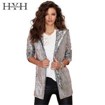 HYH HAOYIHUI Women Blazers Autumn Blazer Pockets Casual Long Sleeve Silver Sequined Coats Street Turn-down Collar Cardigan Suits
