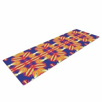 "KESS InHouse Miranda Mol ""Ethnic Border"" Indigo Orange Yoga Mat, 72"" X 24"""