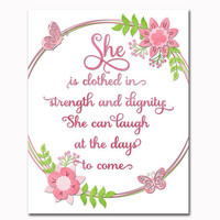 She is clothed in strength and dignity Proverbs 31:25 Nursery bible verse wall decor Scripture art print Nursery wall art Christian artwork