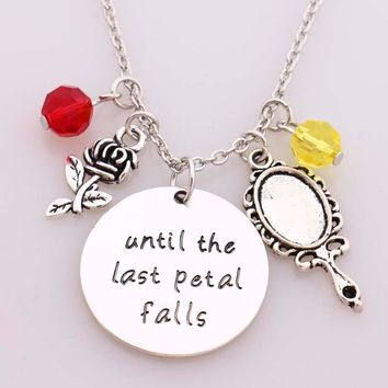 "Beauty and Beast Necklace""until the last Petal Falls""Hand Stamped Letter Pendant with Rose,Mirror with Crystal Charms Necklace"
