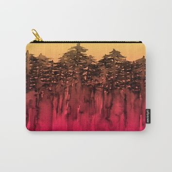 FOREST THROUGH THE TREES 12 Hot Pink Magenta Orange Black Landscape Ombre Abstract Painting Outdoors Carry-All Pouch by EbiEmporium