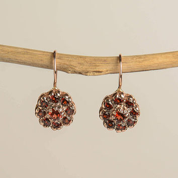 Garnet Drop Earrings  flower shaped vintage style in 14K Rose Gold Wire back with hook and lever