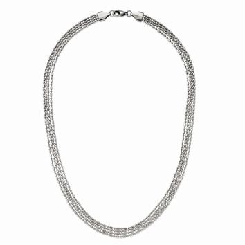 Four Strand Necklace in Stainless Steel - Lobster Claw Bead