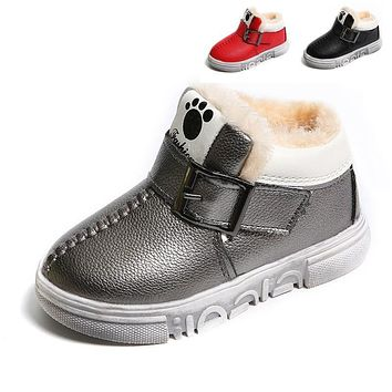 Warm Boys Boots Cold Winter Little Kids Shoes for Boy Boots PU Leather Fashion Soft Baby Boots With Plush Size 21-30
