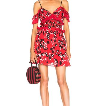 Red Floral Cold Shoulder Mini Dress