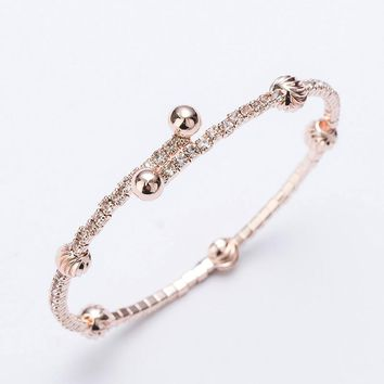 Love rhinestones cuff bracelets & bangles for women girls rose gold/silver color alloy open adjustable female bracelet bangle