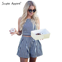 Simplee Apparel Summer 2016 beach women playsuits Striped two pieces set mini jumpsuit romper Girl short sexy backless overalls