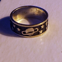 Vintage Sterling Silver  Cosmos Galaxy Solar System Styled Band Ring - Size 7 - Italian Modena