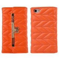 Fashion Handbag Wallet Style Chevron Texture Pattern with Bowknot Magnetic Buckle Flip PC+PU Leather Case for iPhone 5/5S(Orange)