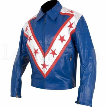 Blue Red Star Stripes Leather Jacket