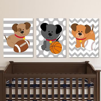 Dogs Sport Wall Art, Dog Sport CANVAS or Prints Boy Dog Puppies Nursery Decor, DOG Puppy Nursery Theme, Dog Theme Nursery Decor Set of 3