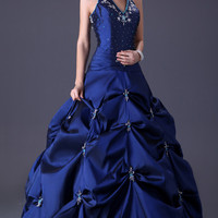 Blue Halter Beaded Ruched Taffeta Ball Gown