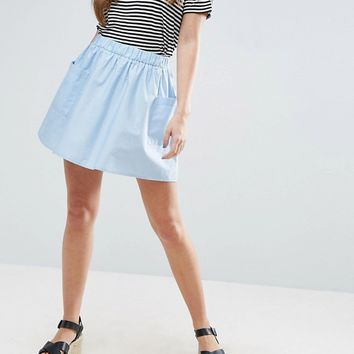 ASOS Mini Skater Skirt in Cotton Poplin with Pockets at asos.com
